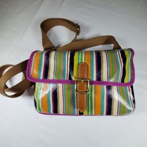 Fossil Striped Crossbody Bag. PVC coated fabric.